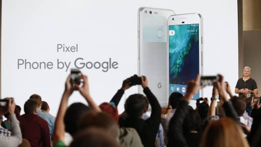 Rick Osterloh, senior vice president of hardware at Google, introduces the Pixel Phone by Google during the presentation of new Google hardware in San Francisco, Oct. 4, 2016