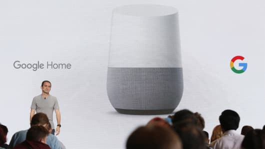 Mario Queiroz introduces the Google Home device during the presentation of new Google hardware in San Francisco, Oct. 4, 2016.