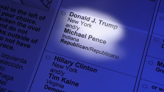 An absentee ballot for the US election.