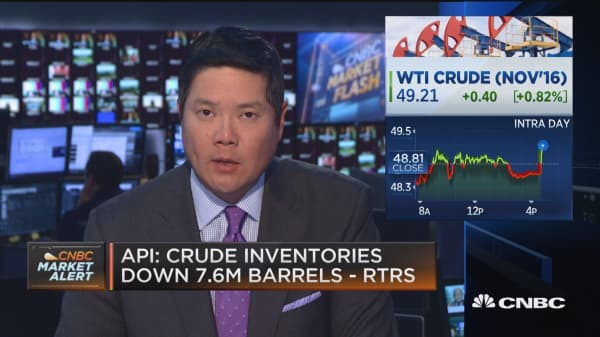 Crude turns positive on surprise inventory drawdown
