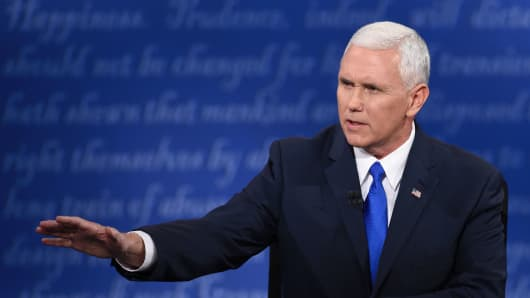 Republican candidate for Vice President Mike Pence speaks during the vice presidential debate at Longwood University in Farmville, Virginia on October 4, 2016.