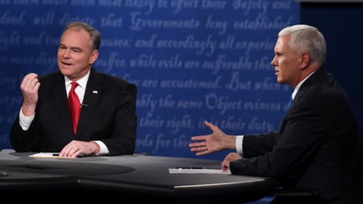 Republican candidate for Vice President Mike Pence (R) and Democratic candidate for Vice President Tim Kaine speak during the vice presidential debate at Longwood University in Farmville, Virginia on October 4, 2016.
