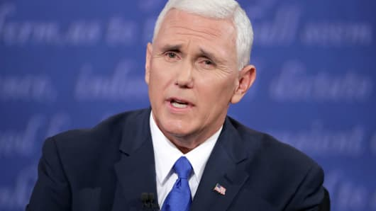 Mike Pence speaks during the Vice Presidential Debate with Democratic vice presidential nominee Tim Kaine at Longwood University on October 4, 2016 in Farmville, Virginia.