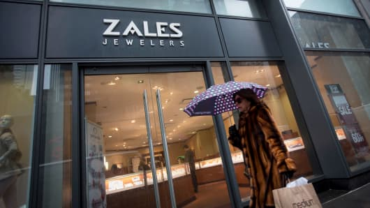 A pedestrian walks past a Zales store in New York.