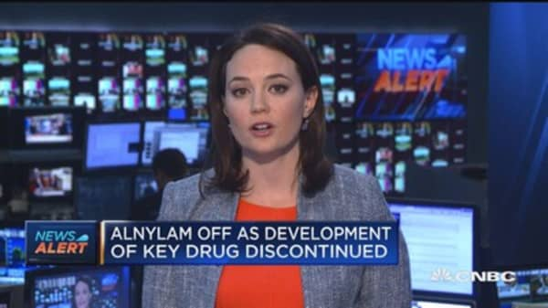 Alnylam off as development of key drug discontinued