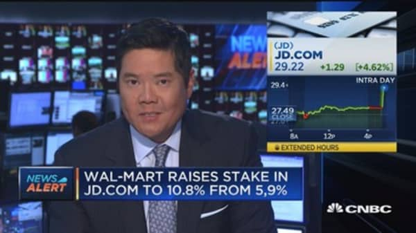 Wal-Mart raises stake in JD.com to 10.8% from 5.9%