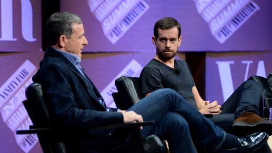 The Walt Disney Company Chairman and CEO Bob Iger and Twitter Co-Founder and Chairman and Square CEO Jack Dorsey speak onstage.