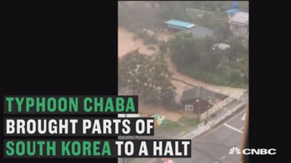 South Korea slammed by Typhoon Chaba