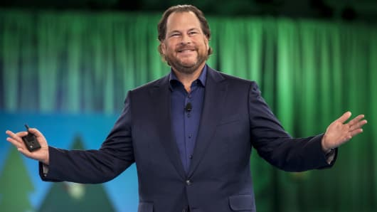 Marc Benioff, CEO of Salesforce.com speaks during the DreamForce Conference in San Francisco, Oct. 5, 2016.