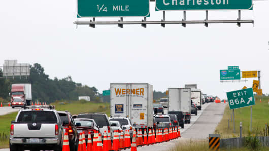 Traffic on Interstate 95 slows at the closed interchange with Interstate 26 as congestion fills roads leaving Charleston and the Atlantic coast after South Carolina Governor Nikki Haley ordered an evacuation of more than a million people in coastal areas before the arrival Hurricane Matthew, in Bowman, South Carolina on October 5, 2016.
