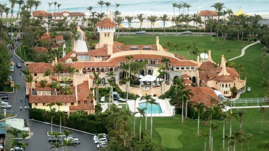An aerial view of Mar-a-Lago, the estate of Donald Trump, in Palm Beach, Fla.