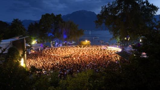 A view of the 'Music in the Park' stage during the 50th edition of the Montreux Jazz Festival on July 1, 2016 in Montreux. The 50th edition featured big names such as Neil Young, PJ Harvey, Carlos Santana, Caetano Veloso, and many more.