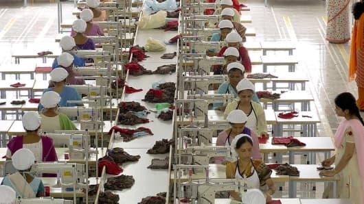 Garment factory workers in Mumbai, Maharashtra in India.