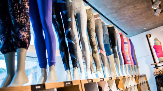 Athletic apparel sits on display inside a Lululemon Athletica store.