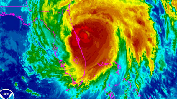 Hurricane Matthew is seen moving up the east coast of Florida in this infrared image from NOAA's GOES-East satellite taken at 7:45 a.m. ET October 7, 2016.