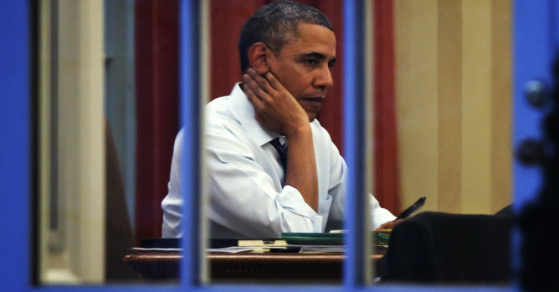 President Barack Obama contemplates the State of the Union in the Oval Office.