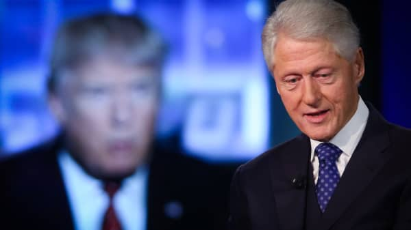 Former President Bill Clinton reacting to comments by Donald Trump at the 2015 Clinton Global Initiative Annual Meeting in New York on Sept. 29, 2015.