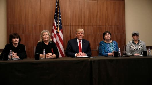 Donald Trump sits with (from R-L) Paula Jones, Kathy Shelton, Juanita Broaddrick, Kathleen Willey in a hotel conference room in St. Louis, shortly before the second presidential debate at Washington University in St. Louis, October 9, 2016.