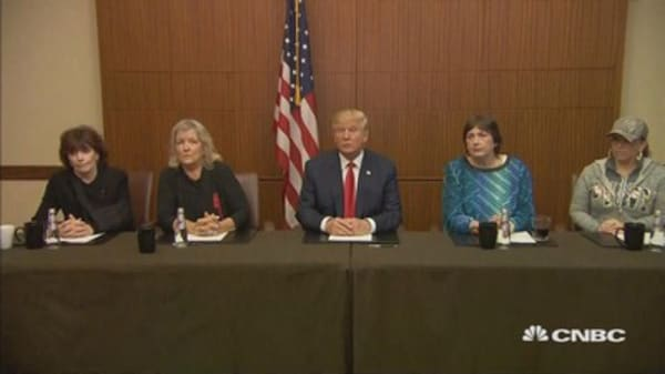 Trump appears with Bill Clinton accusers