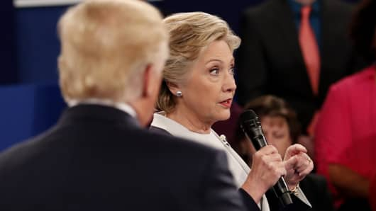 Democratic U.S. presidential nominee Hillary Clinton speaks during their presidential town hall debate with Republican U.S. presidential nominee Donald Trump at Washington University in St. Louis, Missouri
