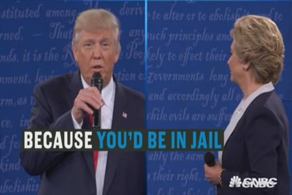 Because you'd be in jail: Trump to Clinton