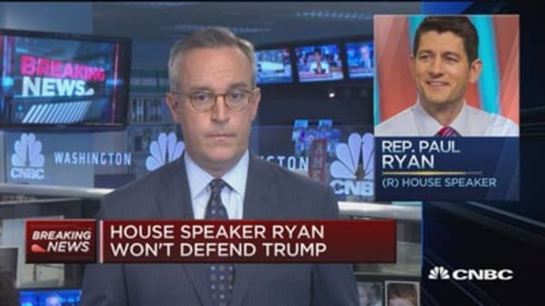 House speaker Ryan won't defend Trump