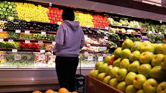 A person shops in a Whole Foods Market in Brooklyn, New York.