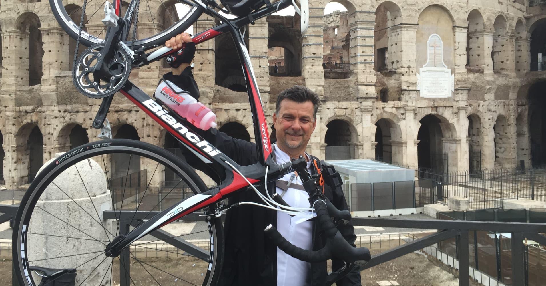 """Kurt Long biked hundreds of miles as part of Richard Branson's """"Virgin Strive."""""""
