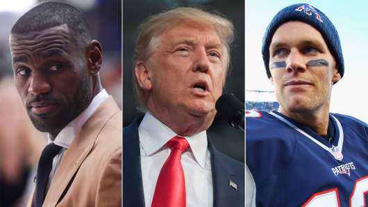 LeBron James, Donald Trump and Tom Brady