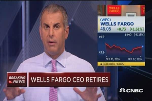 Wells Fargo CEO retires, shares higher