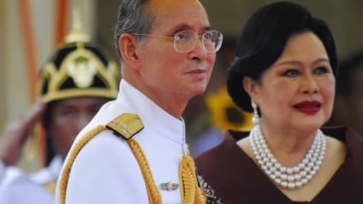 King Bhumibol and his wife Sirikit in 2007.