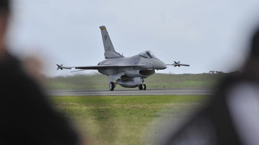 A Republic of Singapore Air Force F-16 fighter.