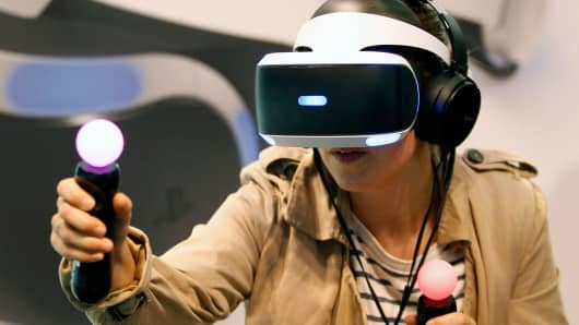 A person using PlayStation VR