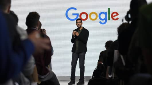 Sundar Pichai, CEO of Google, speaks at a product launch event in San Francisco last October.