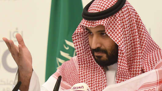 Saudi Defense Minister and Deputy Crown Prince Mohammed bin Salman gestures during a press conference in Riyadh, on April 25, 2016.