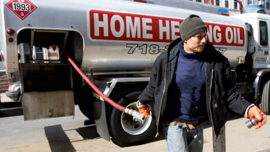 Heating oil is delivered to a home in Brooklyn, New York.