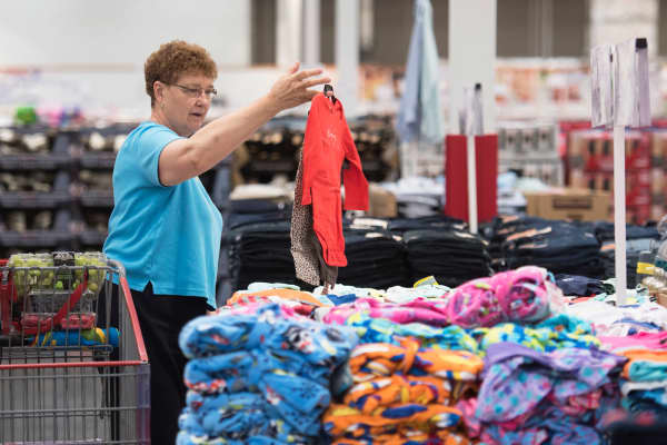 Linda Wentzel shops for clothing at a Costco Wholesale store in East Peoria, Illinois.