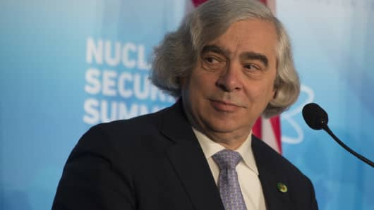 US Energy Secretary Ernest Moniz speaks during a press conference at the 2016 Nuclear Security Summit in Washington, DC, April 1, 2016.