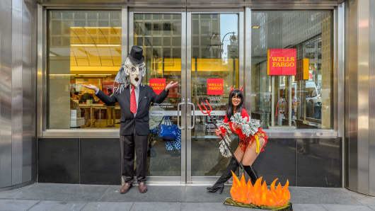 Protesters outside a Wells Fargo building in New York.