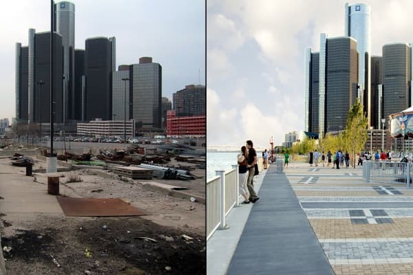 Detroit has completely revitalized many downtown areas like Rivard Park (shown now on the right,) in part with help from Gilbert's Rock Ventures.