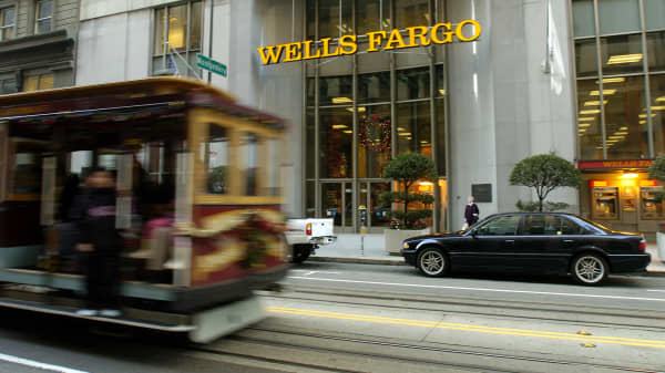 A cable car passes the entrance to Wells Fargo & Co.'s San Francisco headquarters.