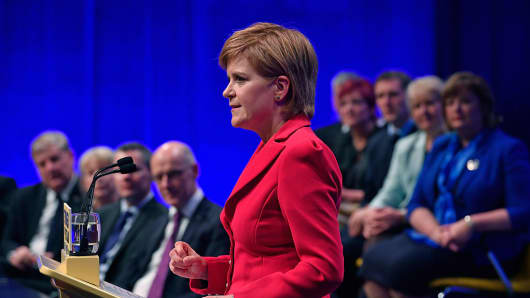 First Minister and SNP leader Nicola Sturgeon addresses the Scottish National Party Conference 2016 on October 15, 2016 in Glasgow.