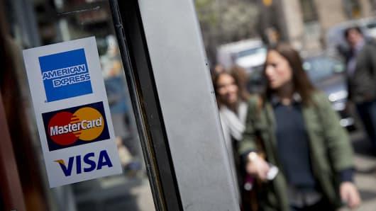 Visa, american express, mastercard sign, credit cards
