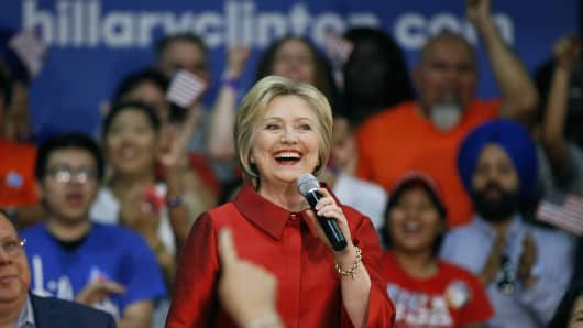 Democratic presidential candidate Hillary Clinton speaks during the Get Out the Vote campaign event at Carl Hayden High School on March 21, 2016, in Phoenix, Arizona.