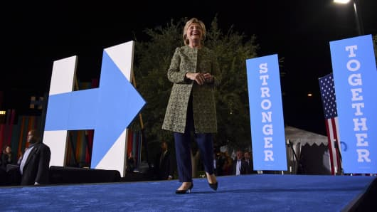 Democratic presidential candidate Hillary Clinton arrives before a rally at the Smith Center for the Performing Arts on October 12, 2016 in Las Vegas, NV.