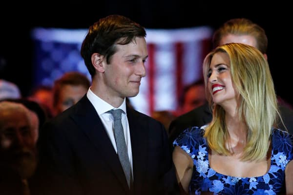 Ivanka Trump smiles at her her husband, Jared Kushner