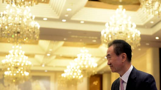 Dalian Wanda Group chairman Wang Jianlin at a ceremony on August 26, 2016, in Jinan, China.