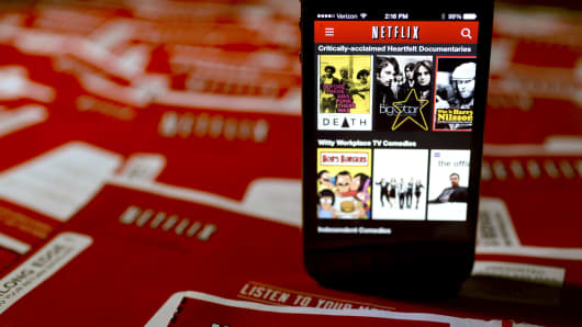 The Netflix Inc. application is displayed on an Apple Inc. iPhone.
