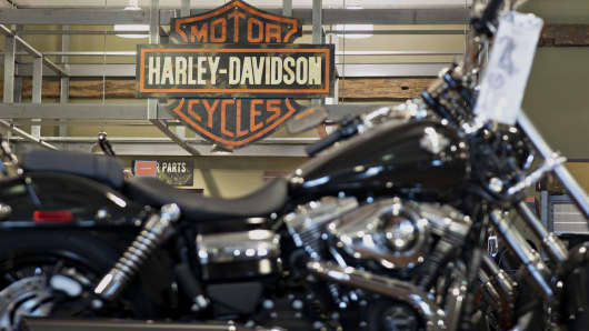 A Harley-Davidson Wide Glide motorcycle sits on display at the Starved Rock Harley-Davidson dealership in Ottawa, Illinois.