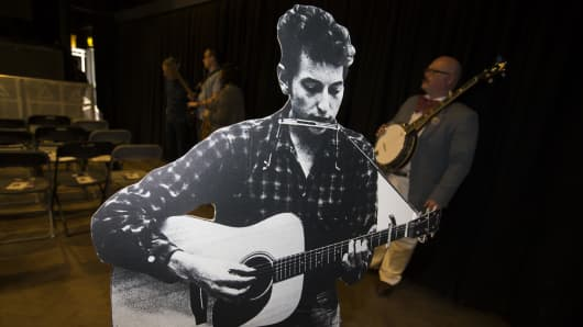 A cardboard cutout of Bob Dylan is seen during a sound check before a concert fifty years to the day after the musician was accused of heresy by going electric during a gig at Manchester's Free Trade Hall at Academy 3 on May 17, 2016 in Manchester, United Kingdom.